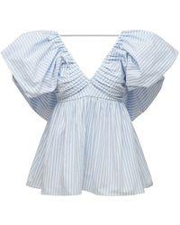 Carolina Herrera Striped Cotton Blend Top W/ Puff Sleeves - Blue