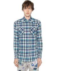 DSquared² Хлопковая Рубашка В Ковбойском Стиле В Клетку - Синий