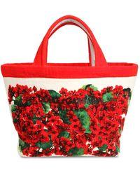 Dolce & Gabbana Сумка-тоут Из Хлопка С Принтом - Красный