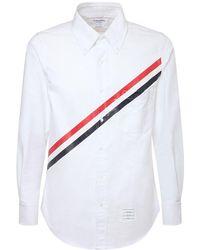 Thom Browne Рубашка Из Хлопка С Принтом Rwb - Белый