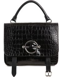 JW Anderson - Disc Satchel Croc Embossed Leather Bag - Lyst