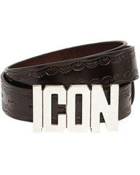 DSquared² 30mm Icon Buckle Leather Belt - Multicolour