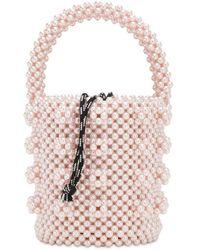Shrimps Poppy Beaded Top Handle Bag - Pink