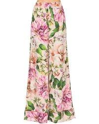 Dolce & Gabbana Pantaloni In Seta Charmeuse - Rosa
