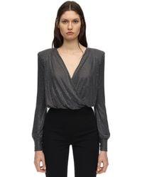Philipp Plein Crystal Embellished Jersey Bodysuit - Metallic