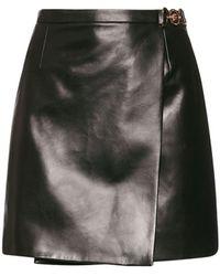 Versace レザーミニスカート - ブラック