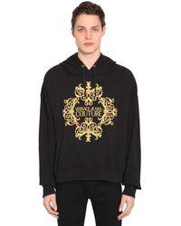 Versace Jeans Couture ロゴ刺繍 コットンジャージーフーディ - ブラック