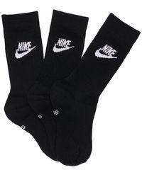Nike 3er-set Socken Aus Baumwollmischung - Schwarz