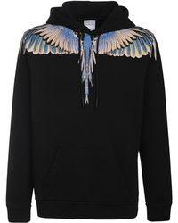Marcelo Burlon Свитшот Из Хлопкового Джерси Wings - Черный