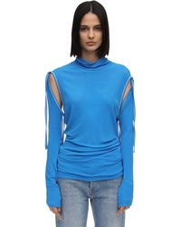 Atlein Lvr Exclusive Top W/ Detachable Sleeves - Blue