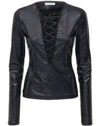 Saks Potts Herm Shimmer Stretch Jersey Lace-up Top - Black