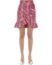 MSGM - Ruffled Python Print Techno Mini Skirt - Lyst