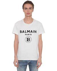 Balmain - Flocked Cotton Jersey T-shirt - Lyst