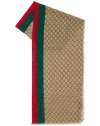 Gucci Gg Wool Stole W/ Web - Natural