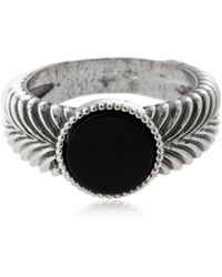 Emanuele Bicocchi - Slim Herringbone Stone Silver Ring - Lyst