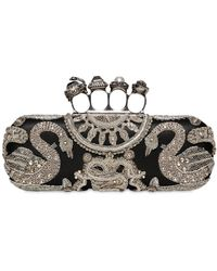 Alexander McQueen - Embellished Leather Knuckle Ring Clutch - Lyst