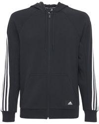 adidas Originals コットンブレンドジップアップスウェットフーディー - ブラック