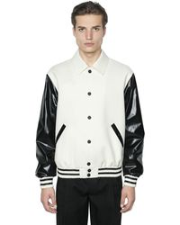 CALVIN KLEIN 205W39NYC Faux Leather & Wool Bomber Jacket - Multicolor