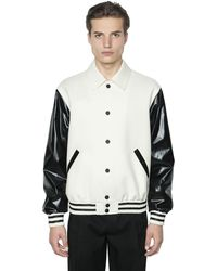 CALVIN KLEIN 205W39NYC Faux Leather & Wool Bomber Jacket - マルチカラー