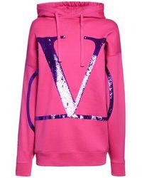 Valentino - オーバーサイズスパンコールジャージーフーディー - Lyst