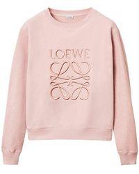 Loewe Свитшот Из Хлопкового Джерси С Вышивкой - Розовый