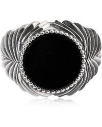 Emanuele Bicocchi - Herringbone Stone Onyx & Silver Ring - Lyst