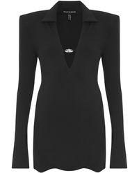 Mach & Mach Vestido Mini De Jersey Stretch Con Cuello En V - Negro