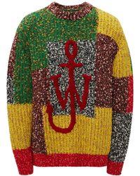 JW Anderson Sweater Aus Wollmischstrick-patchwork - Mehrfarbig