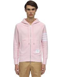 Thom Browne Zip-up Stripes Cotton Sweatshirt Hoodie - Pink
