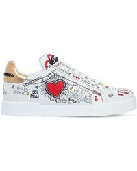 Dolce & Gabbana | 20mm Graffiti Leather Trainers | Lyst