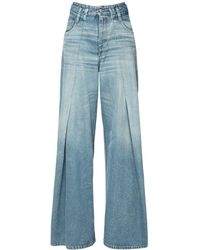 MM6 by Maison Martin Margiela High Waist Pleated Wide Denim Jeans - Blue