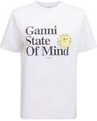 Ganni T-shirt Aus Baumwolljersey Mit Logo - Weiß