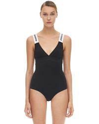 Paco Rabanne Logo Comfort Jersey One Piece Swimsuit - Black