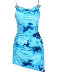 Mach & Mach Vestido De Jersey Stretch Con Estampado Floral - Azul