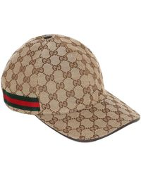 Gucci Gg Supreme Logo Canvas Baseball Hat - Natural