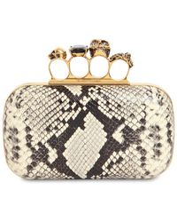 Alexander McQueen Skull Ring Python Print Leather Clutch - Metallic