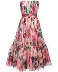 Dolce & Gabbana シルクオーガンザドレス - ピンク