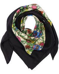 Gucci Flora & Logo Printed Silk Scarf - Multicolour
