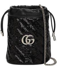 Gucci Сумка С Пайетками Mini Gg Marmont 2.0 - Черный