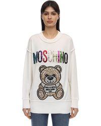 Moschino Wool Knit Jumper W/teddy Embellishment - White