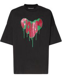 Palm Angels - Spray Heart オーバーサイズコットンジャージーtシャツ - Lyst
