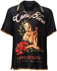 Dolce & Gabbana Рубашка Боулинг Из Шелка С Принтом - Черный