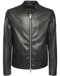 Armani Exchange エコレザーバイカージャケット - ブラック
