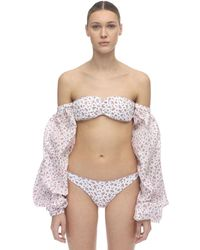 Oséree Floral Bikini W/ Cotton Sleeves - Weiß