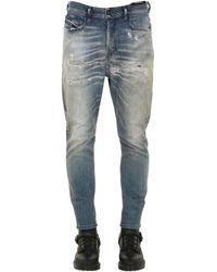 DIESEL Jeans De Denim De Algodón Carrot Fit - Azul