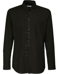 Givenchy Хлопковая Рубашка С Вышивкой - Черный