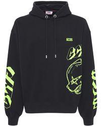 Gcds Printed Cotton Sweatshirt Hoodie - Black