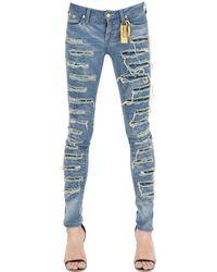 Robin's Jean Skinny Destroyed Washed Denim Jeans - Blue