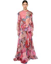 Valentino Robe De Soirée En Mousseline Imprimée - Rose