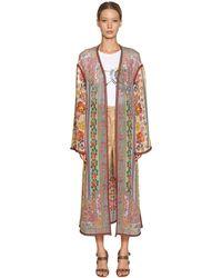 Etro Langer Kimono Aus Seidengeorgette Mit Druck - Mehrfarbig